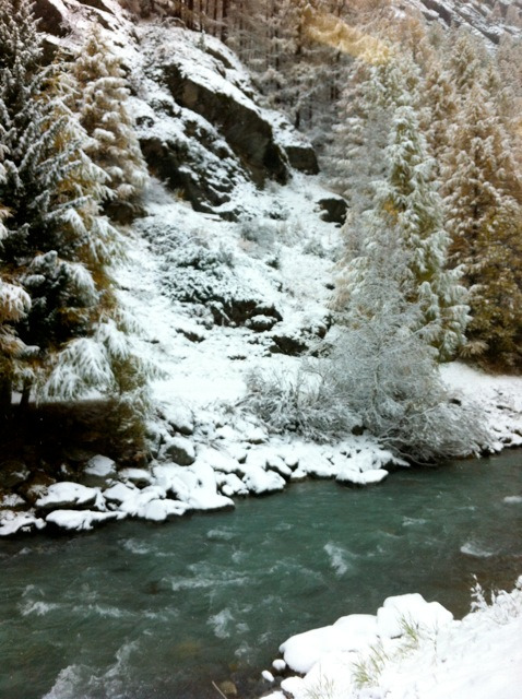 A gentle stream and snow