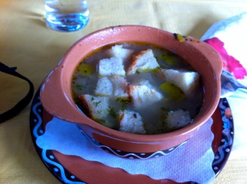 Vegetable soup with croutons, Bled, Slovenia