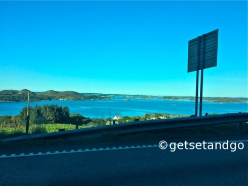 Driving along the coast in Norway